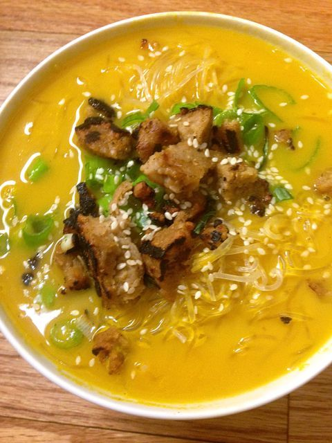 Butternut Squash Noodle Bowl with Seitan and Scallions (Vegan & Gluten ...