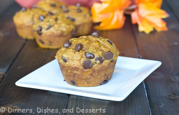 Pumpkin Chocolate Chip Muffins (healthier version - applesauce ...
