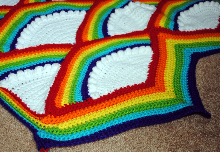 Free Crochet Pattern Rainbow Blanket : crocheted Rainbow Afghan Happy Snappy Crochet! Pinterest