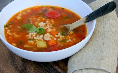 Garbanzo Bean Soup w/ Israeli Cous Cous 2 tbsp olive oil 1/2 c Vidalia ...