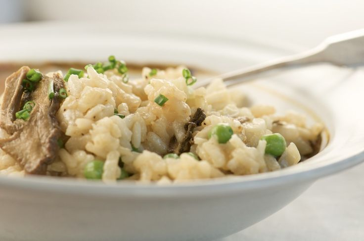 Slow Cooker Risotto with Porcini Mushrooms and Peas