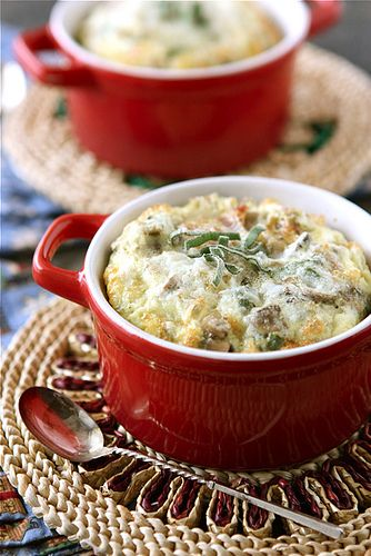 make-ahead baked eggs with bacon, mushroom, and sage (must add onion ...