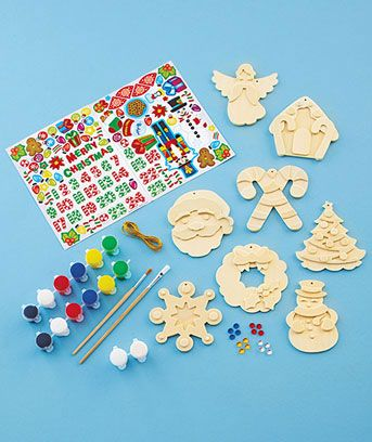 Holiday ornaments wood painting kit craft ideas for kids pinterest