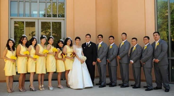 Yellow Bridesmaid Dresses And Grey Suits 37