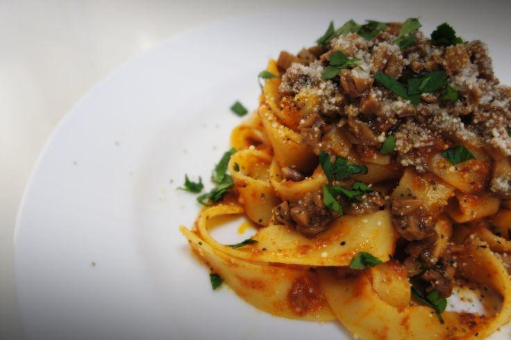 Pappardelle alla Bolognese w/ Porcini mushroom