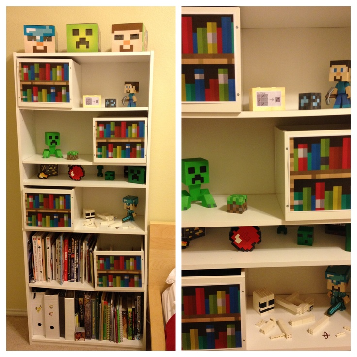 Minecraft how to build a bookshelf images