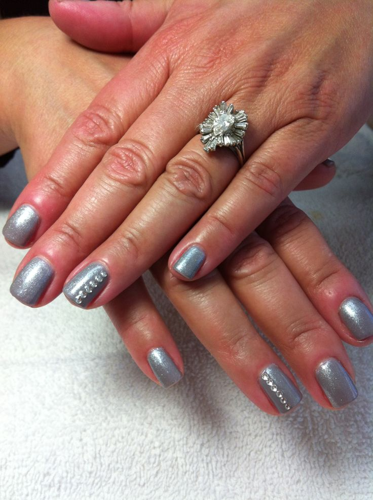 Gel manicure with rhinestones | Nails by Christy | Pinterest