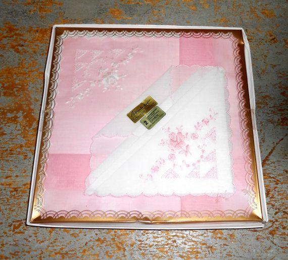 Vintage Handkerchief Pink German Floral by TheBackShak on Etsy, $13.00