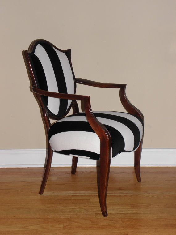 Shield back black and white striped upholstered arm chair