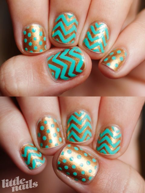 gold manicure with aqua blue patterns