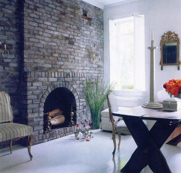 Interior Obsessions - Brick Fireplace