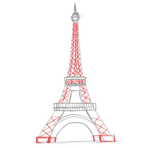 how to draw the eiffel tower step by step dragoart