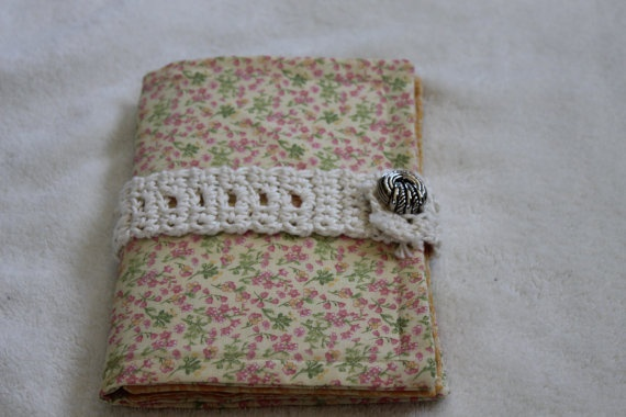 Fabric Journal with Crochet Touch by CoverYourSeams on Etsy, $12.00
