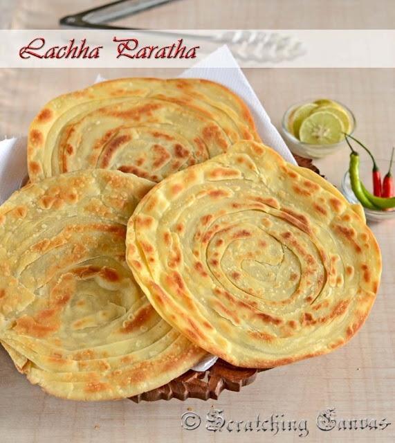 Lachha Paratha or Crispy Flaky Layered Indian Flat Bread