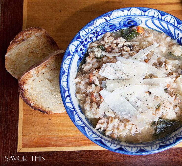 Roasted Cauliflower Farro Chicken Soup with Kale