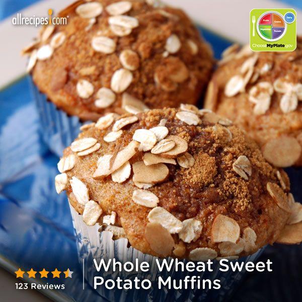 Whole Wheat Sweet Potato Muffins from Allrecipes.com #myplate #grain # ...