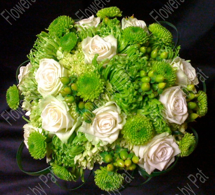 Green Spider Mums Green Button Poms Green Hypericum Berries White Roses And Lily Grass