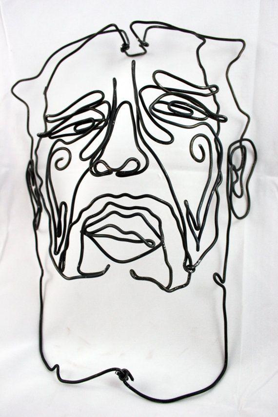 Contour Line Drawing With Wire : Wire portrait contour line pinterest