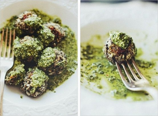 "LENTIL ""MEATBALLS"" IN LEMON PESTO 