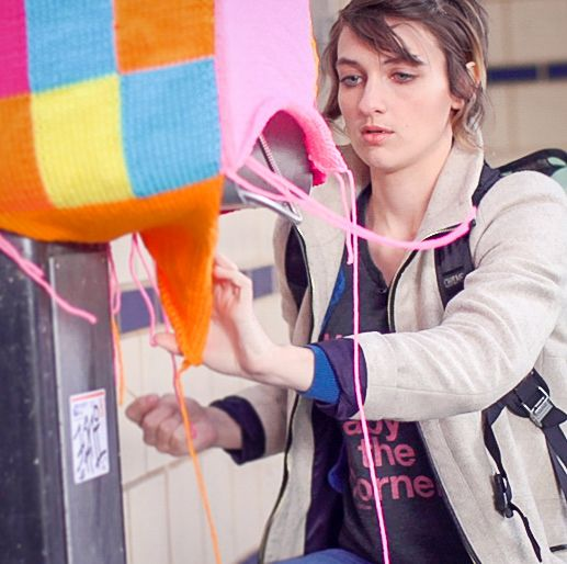 Jessie Hemmons is a guerrilla knitting street artist who uses yarn to create public art.
