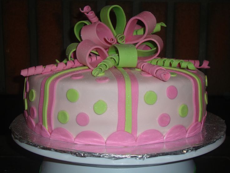 pink and green birthday cake