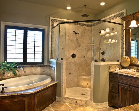 Colors master bath reno ideas pinterest for Master bathroom with corner tub