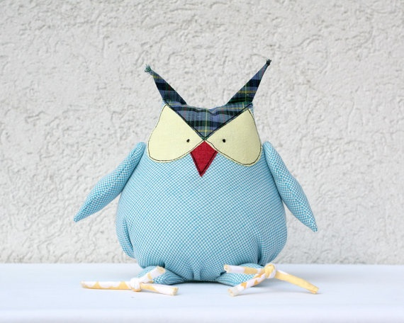 Blue Owl stuffed animal toy for children by andreavida on Etsy,