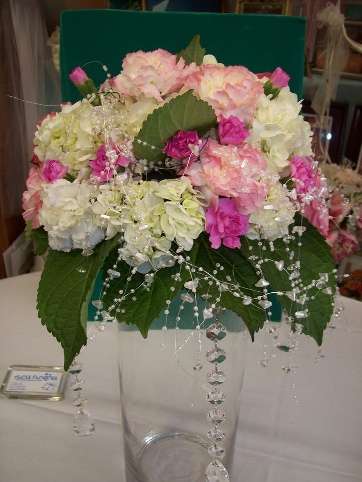 White and pink hydrangea centerpiece floral centrepieces