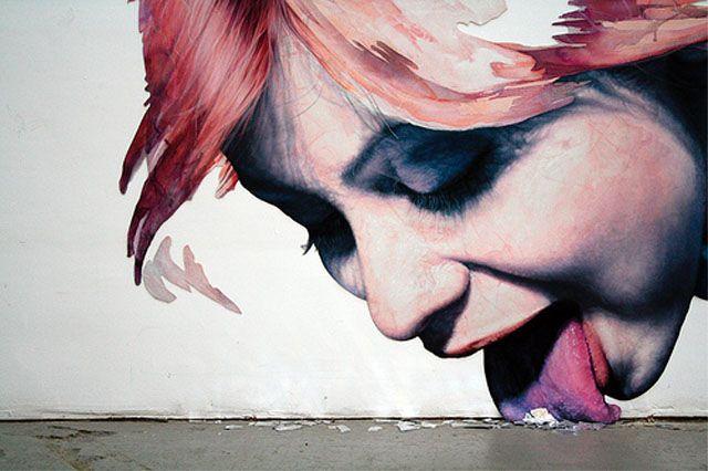 Wall mural, Warsaw, Poland
