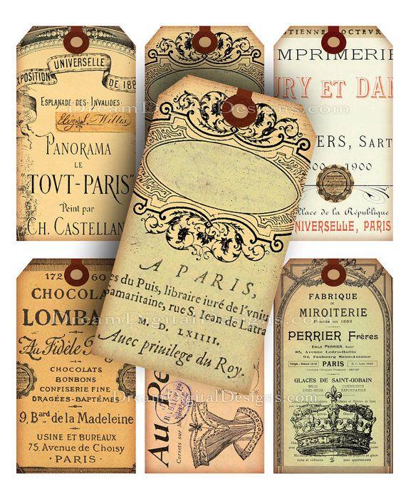 purse Paris Gift Tags Digital Collage Sheet Download Ephemera Printable Ima