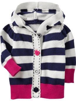 Striped hooded cardigan-blue stripe $16.97