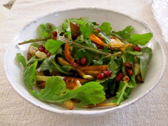 Root Vegetable Arugula Salad with Pomegranate Dressing