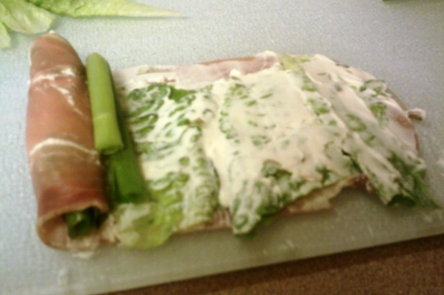 Prosciutto Ham Rolls with cream cheese, Romain lettuce,large chives ...