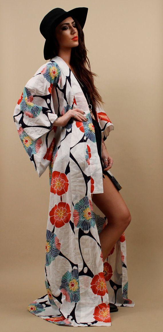 70s Vtg Tye Dye Cotton Floral Kimono Jacket Floor Length