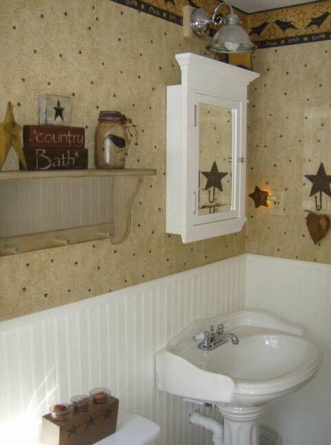 Primitive bath decor dream home ideas pinterest for Bathroom design country