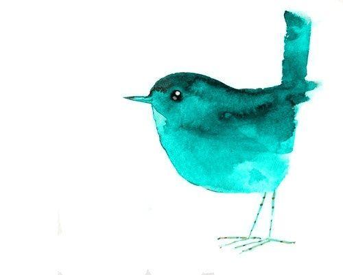 голубая птичка. Твиттер. Акварель
