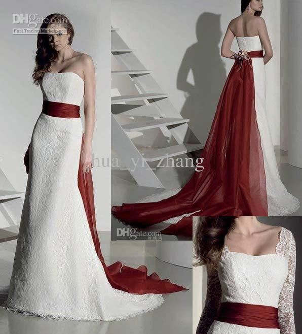 Red And White Wedding Dress Buy : Red and white gown wedding dresses in black or