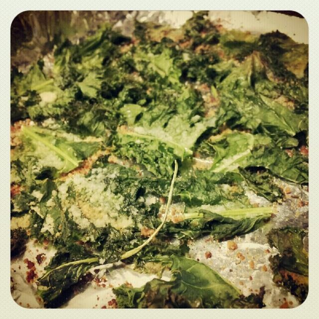 Made today: baked kale chips with parmesan, olive oil and crazy salt