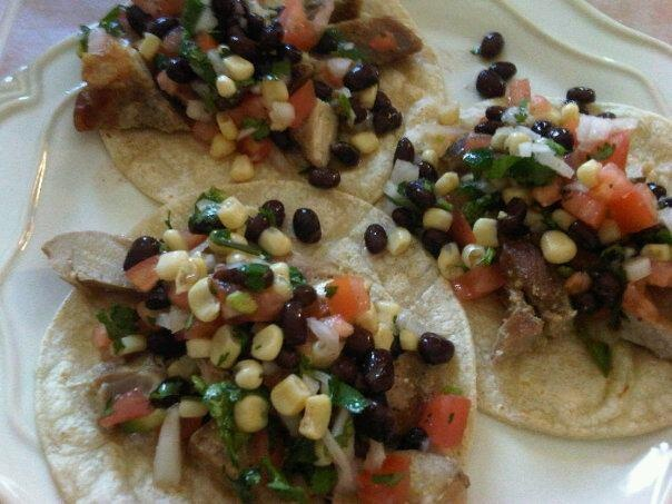 Grilled pork chops tacos with southwest style salsa