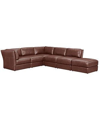 Macys stacey leather sectional sofa 6 piece modular 3 for 6 piece modular sectional sofa leather