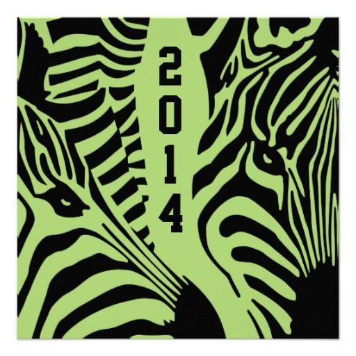 Lime green black zebra print graduation invitation
