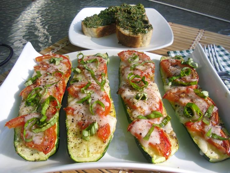 Low Carb Zucchini Boats: Slice the zucchini in half. Slice a thin ...