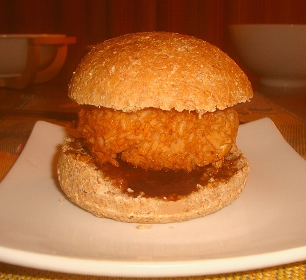 Rice and bean burgers on home made burger buns