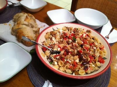 Heirloom Tomato Pasta with Sausage, Olives, & Feta Cheese--yes please ...