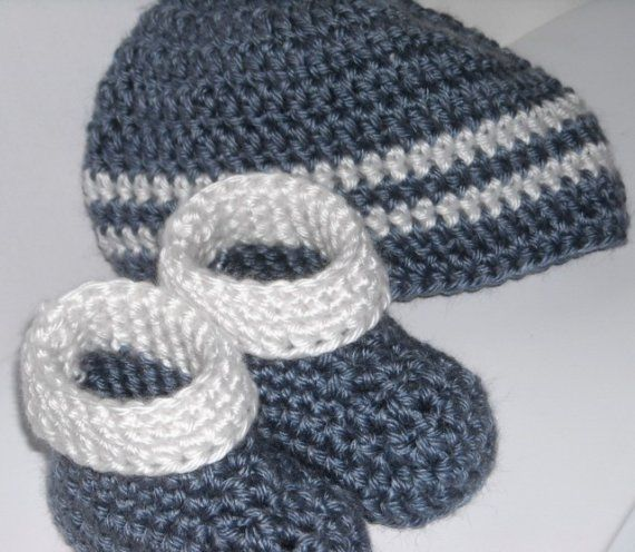 Crochet Hat Pattern With Cuff : Crochet Cuff Booties and Hat Set 0 to 6 Months Baby Boy ...