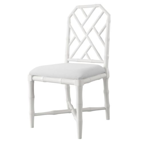 White lacquer side chair faux bamboo linen seat cushion hollywood
