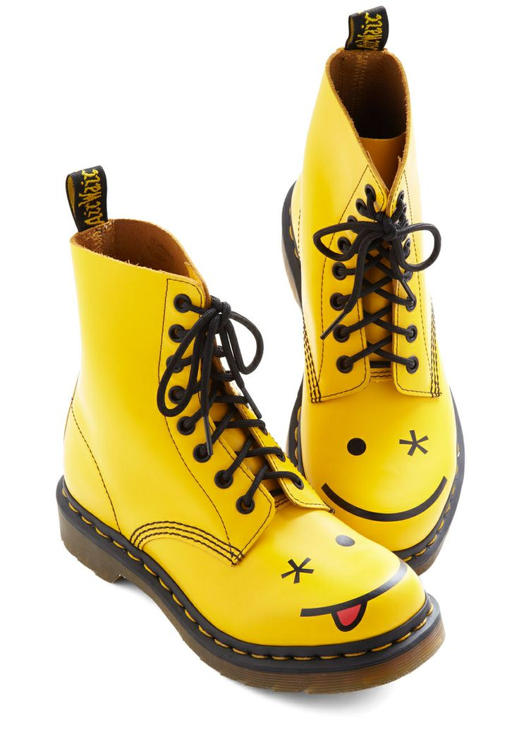 Happy Face Yellow Doc Martens | Dress Every Day Like You Gonna Get Muu2026