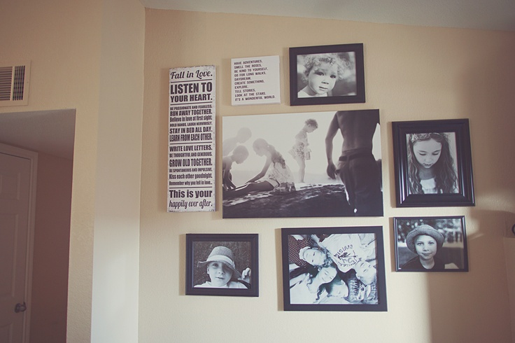 Photo Wall Layout Using Canvas and Picture Frames