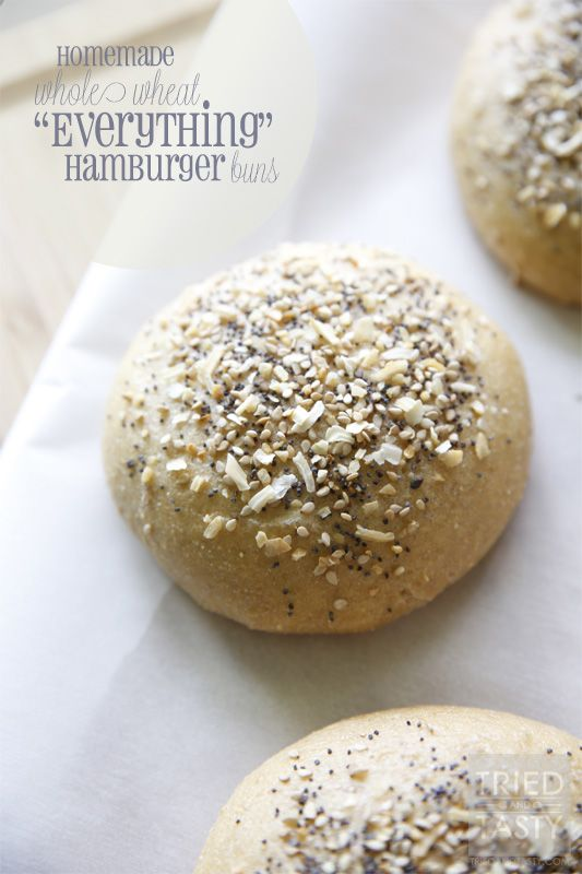 Homemade Whole Wheat Everything Hamburger Buns | Tried and Tasty