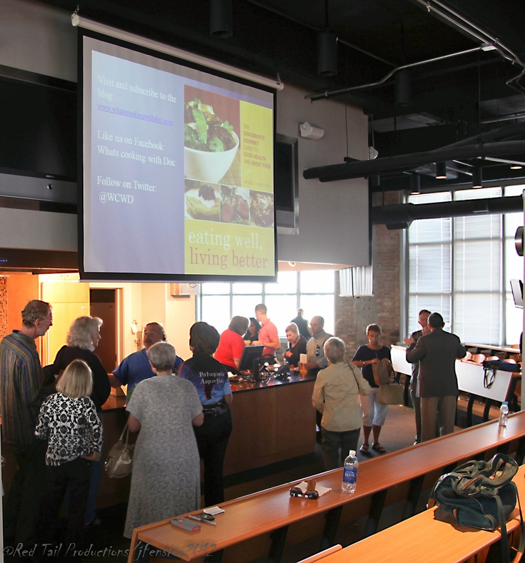 """Chicago Culinary Historians Lecture """"The Original Food Pyramid: Beer, Bread and Foie gras""""  Greeting crowd and signing books! 9/15/12"""